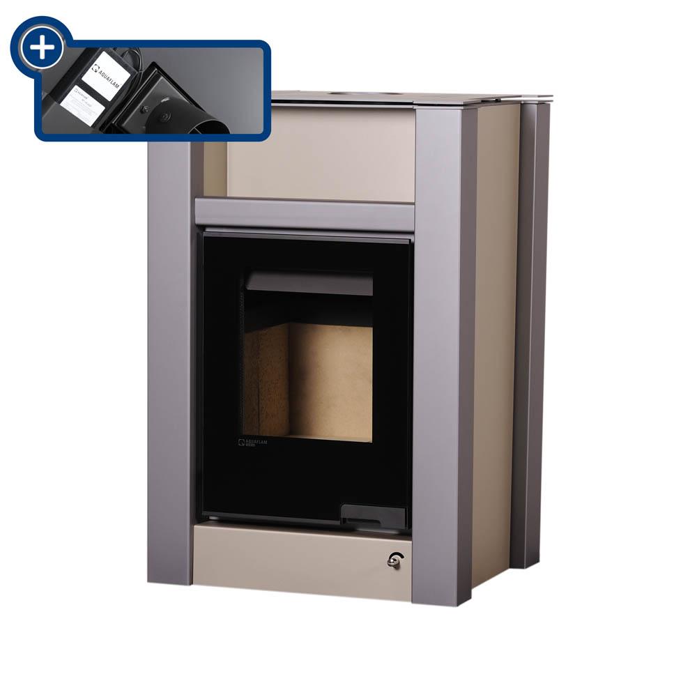Krbová kamna AQUAFLAM VARIO ® LEND 11/7kW krémová - metalická, elektronická regulace