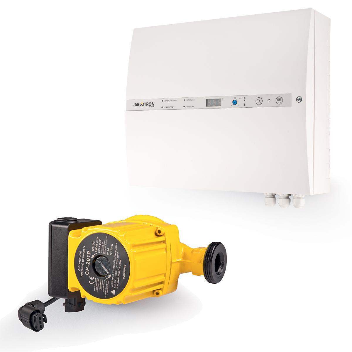 Regulace topení Jablotron (Oběhové čerpadlo 12V, záložní zdroj, řídící jednotka, teplotní senzory, spalinový termostat, siréna)