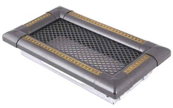 Krbová mřížka 10x20cm EXCLUSIVE grafit / mosaz - patina